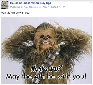 """May the Fourth"" social media post created for House of Enchantment"